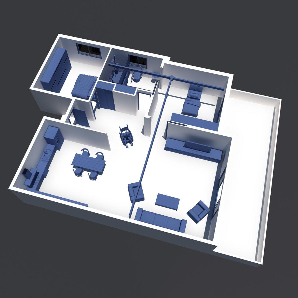 Interiores accesibles ejemplo de plano de vivienda adaptada