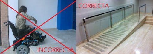 Interiores accesibles ejemplo de construcción no adaptada