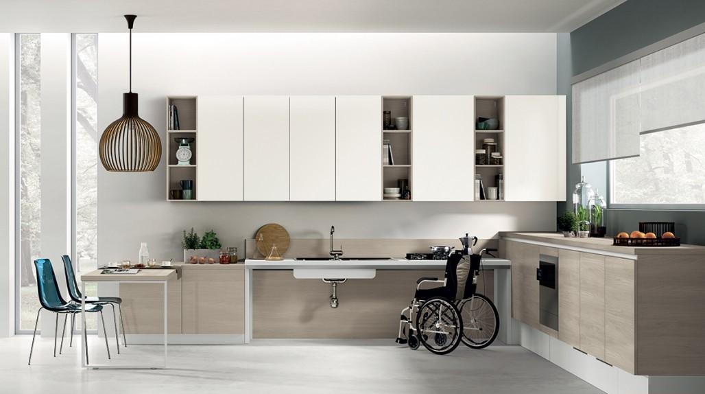 Interiores accesibles ccon cocinas adaptadas a minúsvalidos (Firma Scalovini)