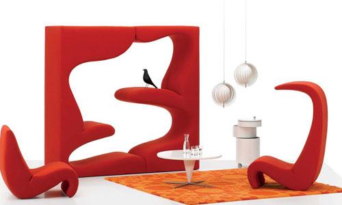 Mobiliario diseñado por Verner Panton